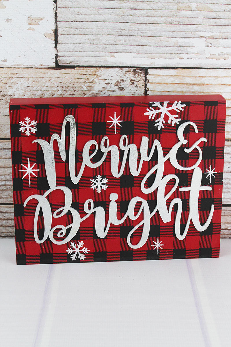 9.5 x 11.75 'Merry & Bright' Buffalo Plaid Wood Sign