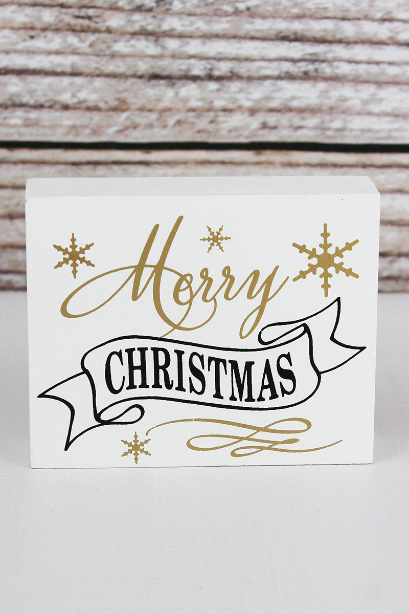 3.25 x 4 'Merry Christmas' Wood Block Sign