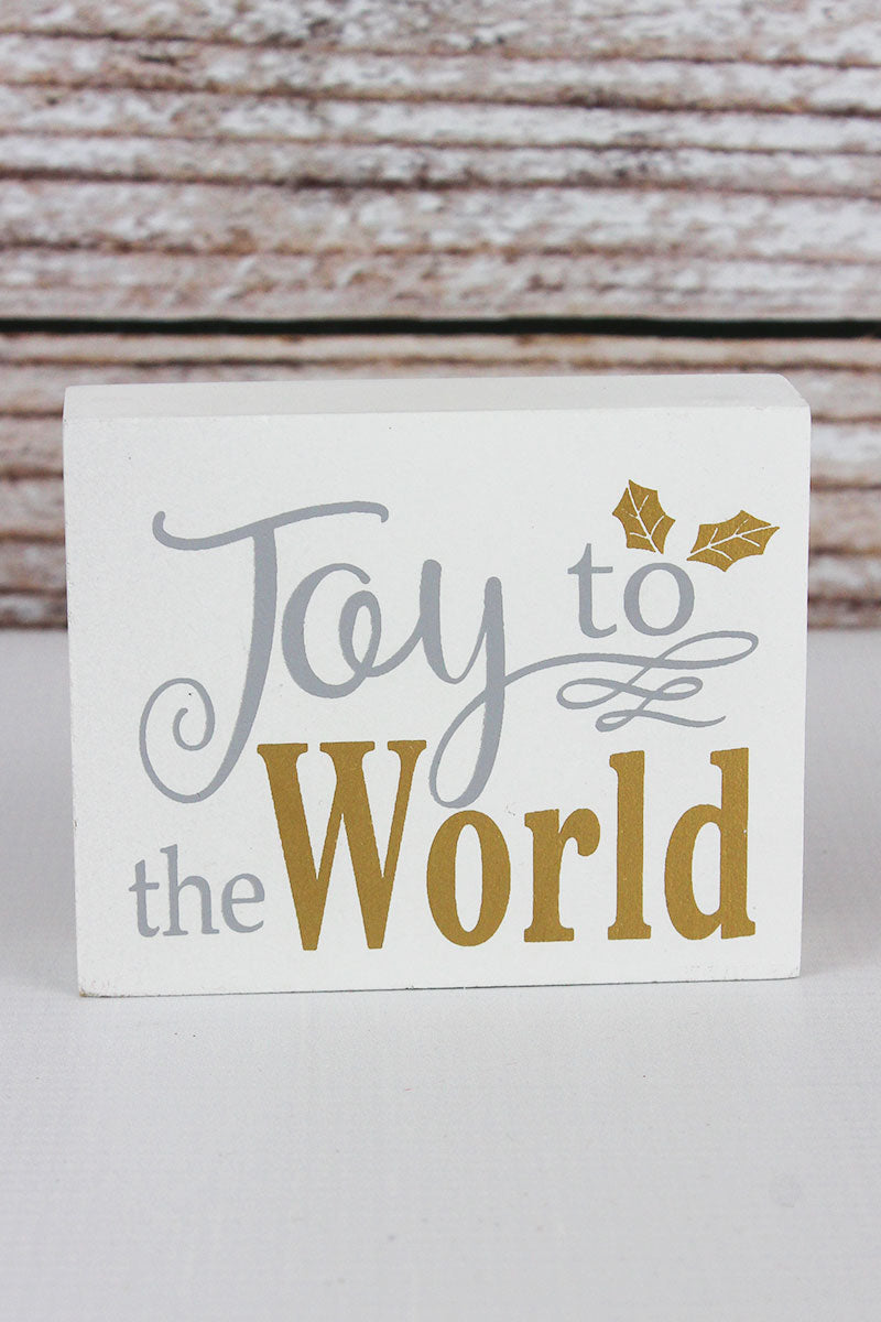 3.25 x 4 'Joy To The World' Wood Block Sign