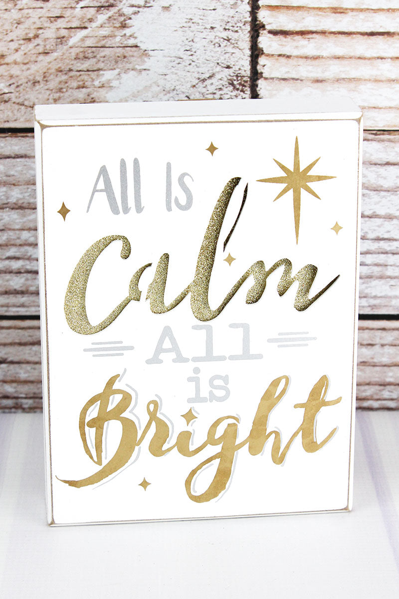 8 x 6 'All Is Calm' Gold Glitter Cut-Out Wood Box Sign