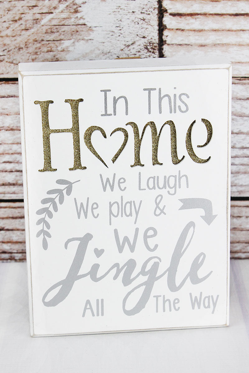 8 x 6 'In This Home' Gold Glitter Cut-Out Wood Box Sign