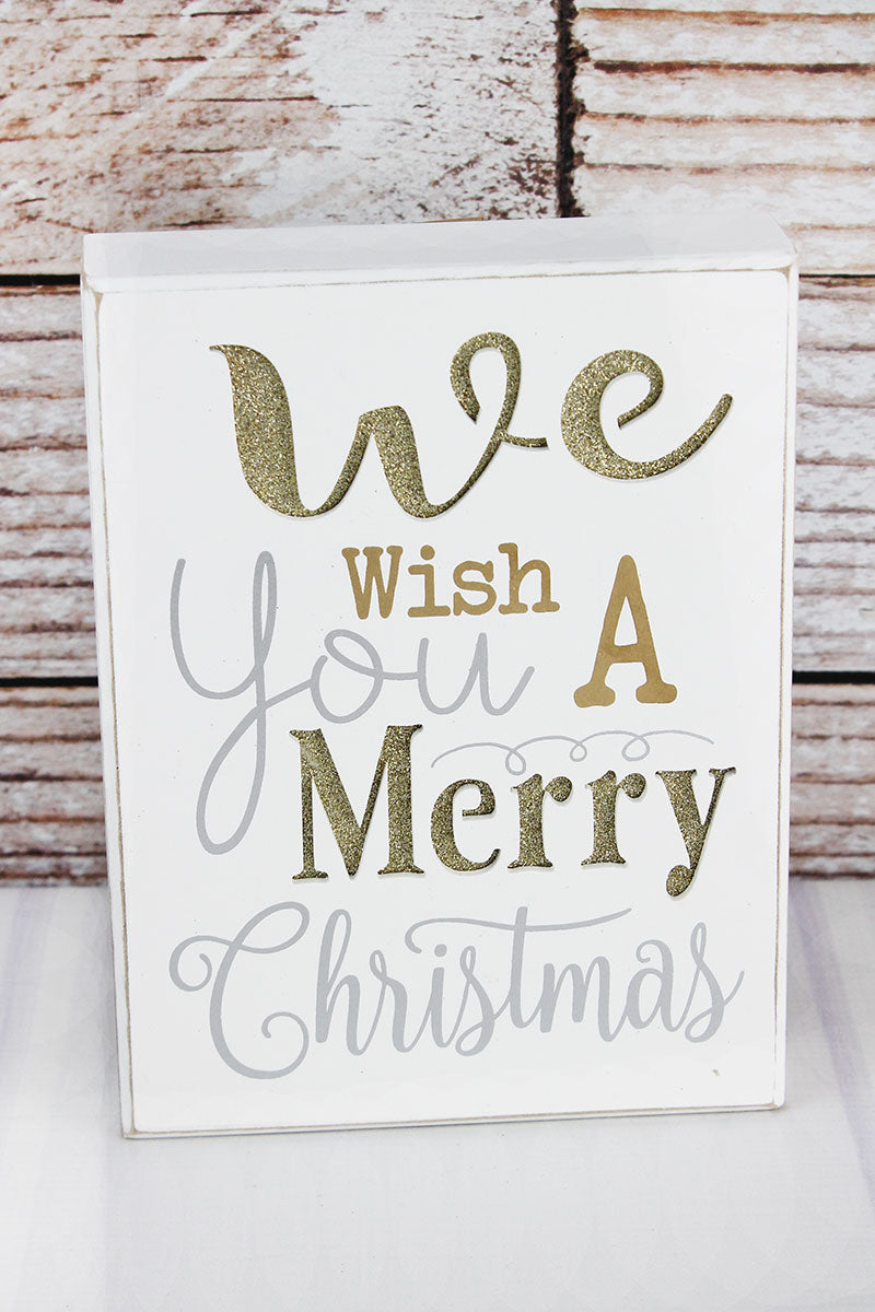 8 x 6 'We Wish You A Merry Christmas' Gold Glitter Cut-Out Wood Box Sign