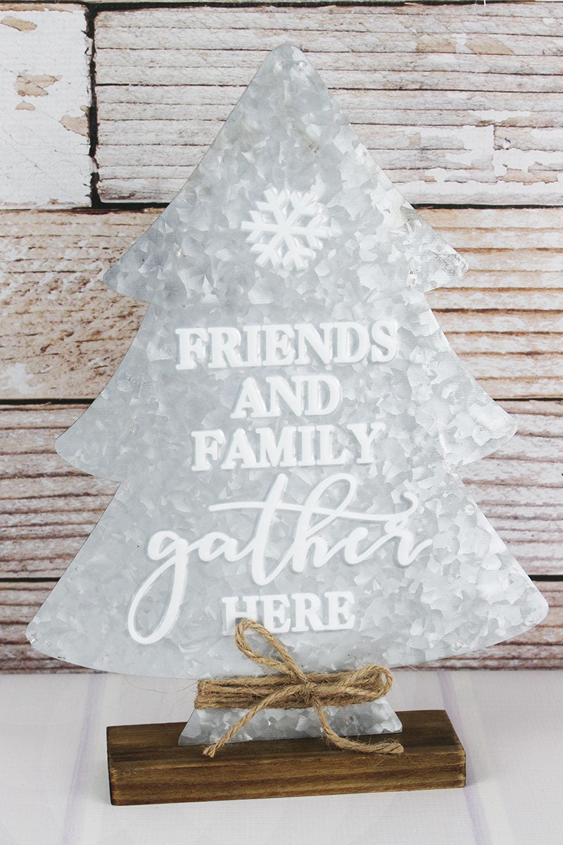 15 x 10.5 'Friends And Family' Metal and Wood Tabletop Tree