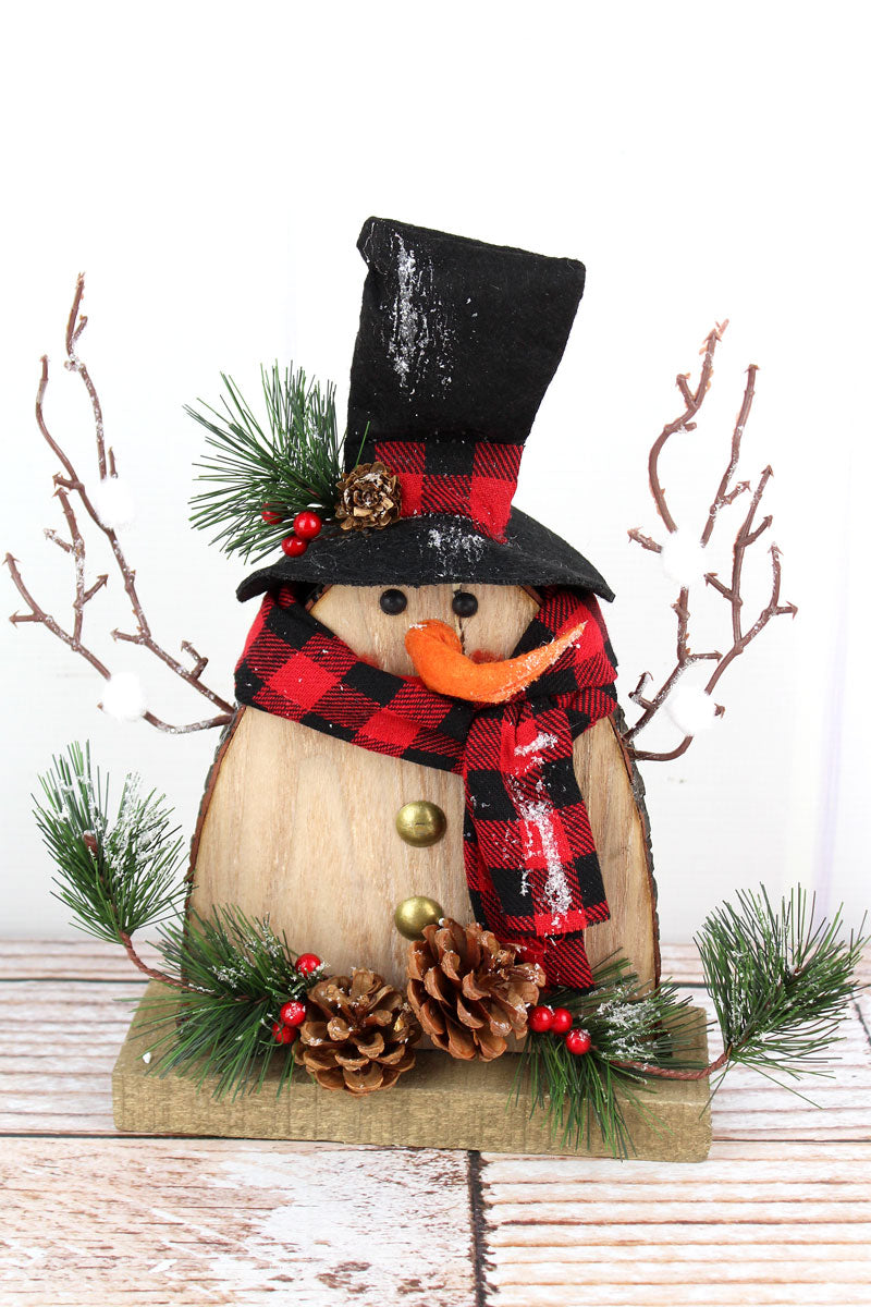 11.25 x 9.5 Wood Snowman with Plaid Scarf Tabletop Decor
