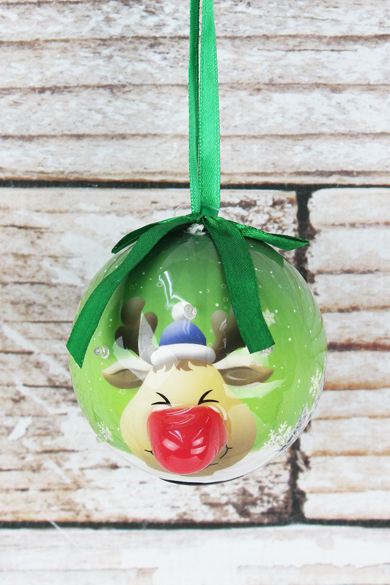Blinking Reindeer Ball Ornament, 3.25""