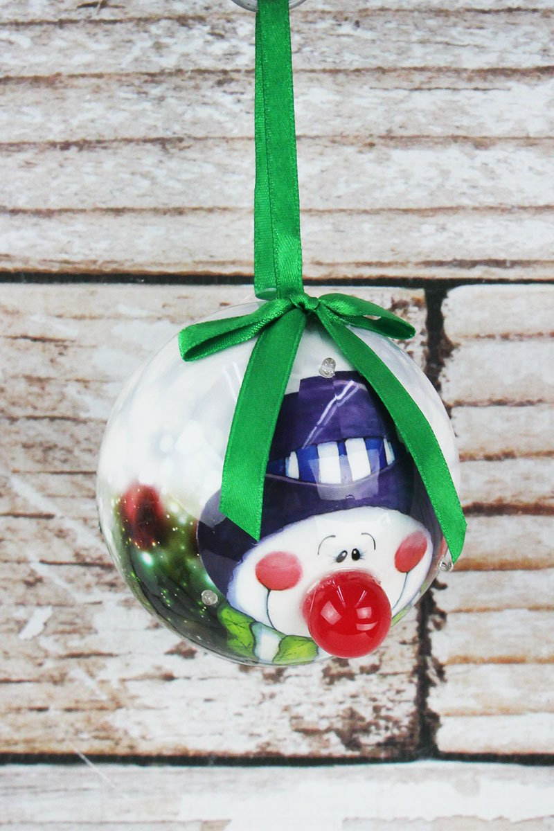 Blinking Top Hat Snowman Ball Ornament, 3.25""