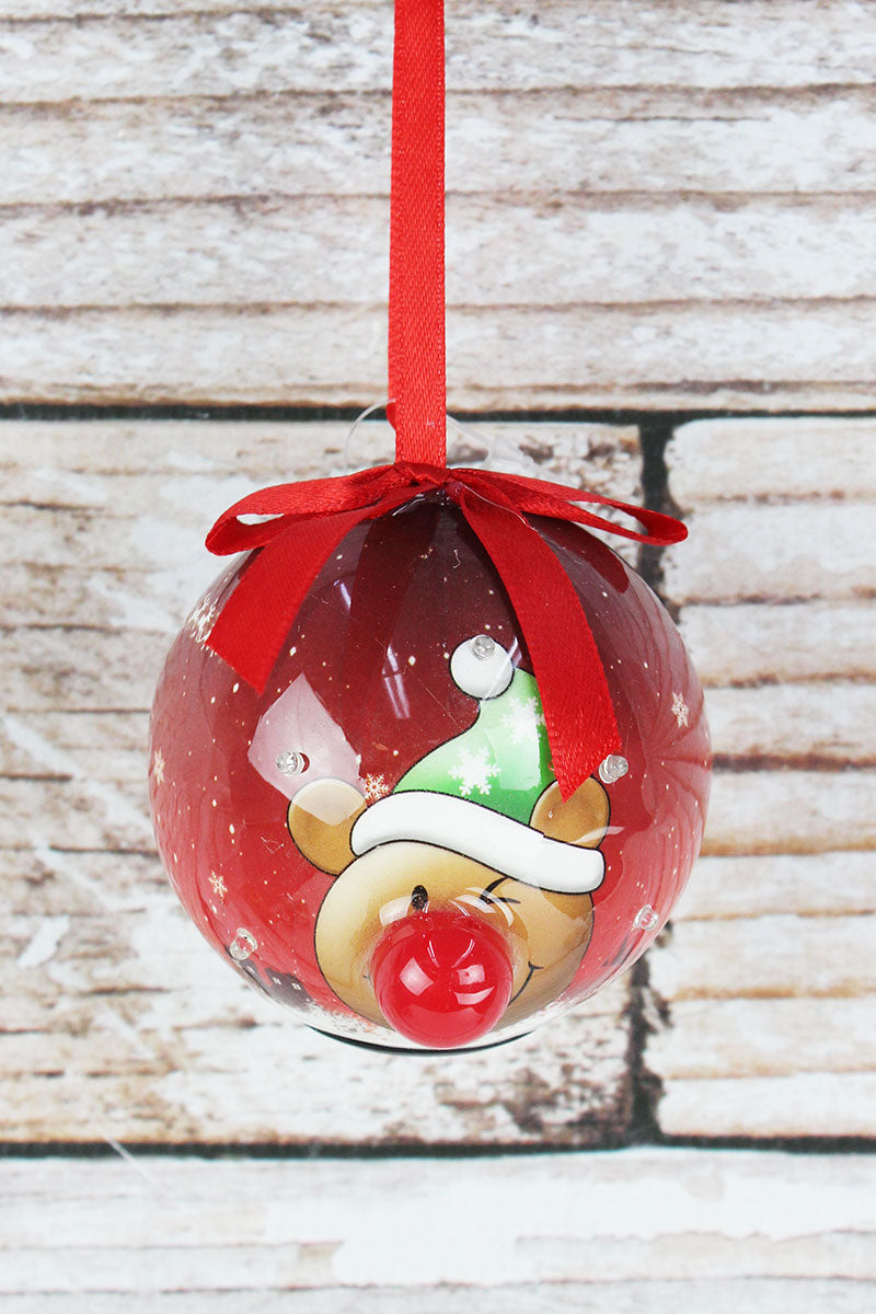 Blinking Snowflake Toboggan Teddy Bear Ball Ornament, 3.25""