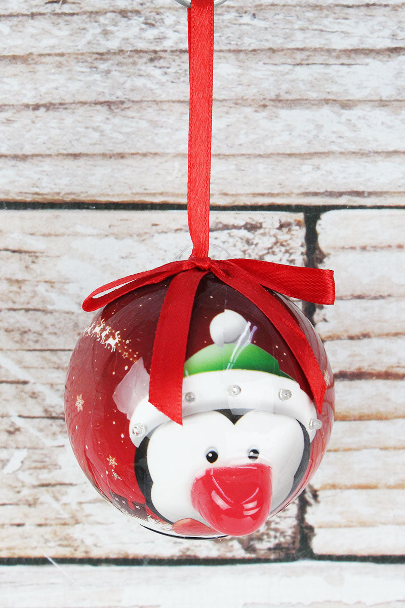 Blinking Penguin Ball Ornament, 3.25""