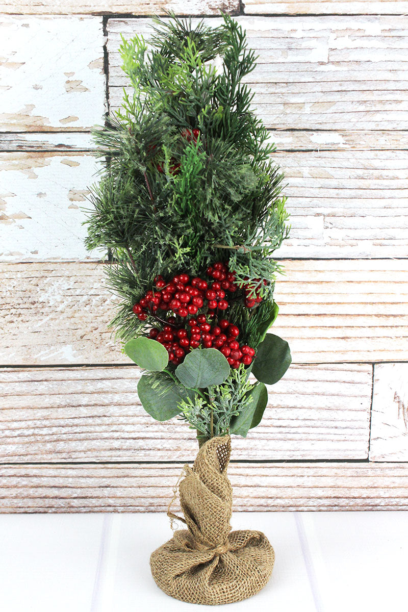 Artificial Mixed Greenery Holly Berry Tree, 21""