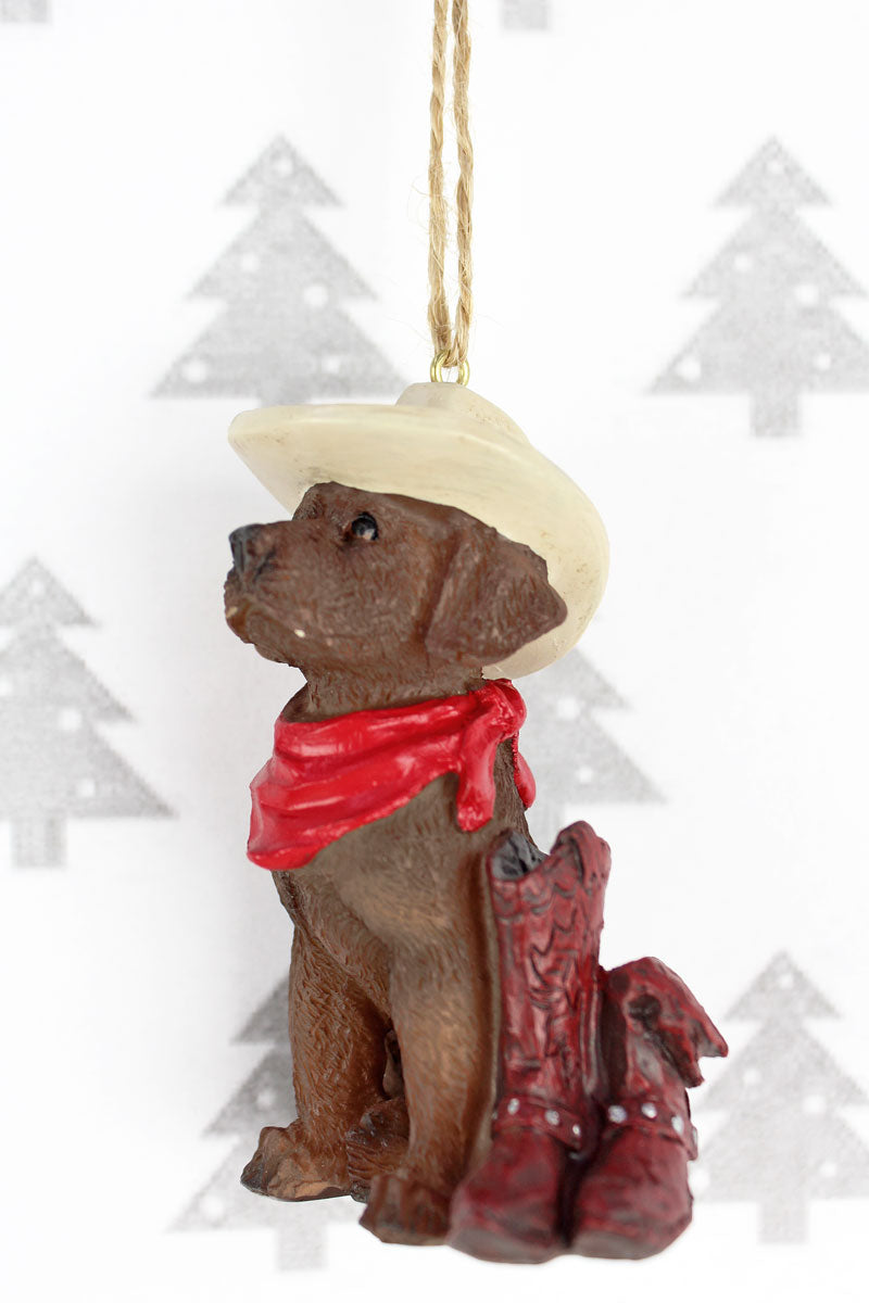 Western Chocolate Lab Resin Ornament, 3.5""