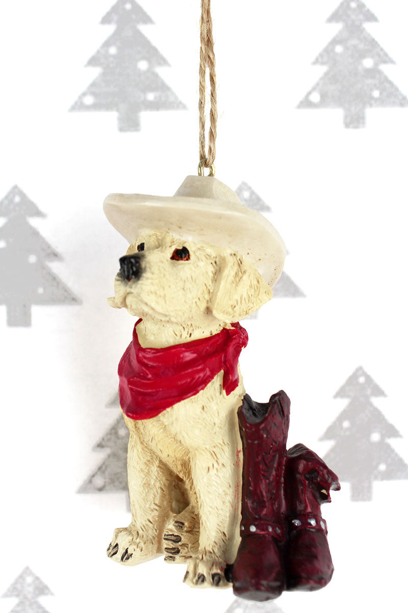 Western Yellow Lab Resin Ornament, 3.5""