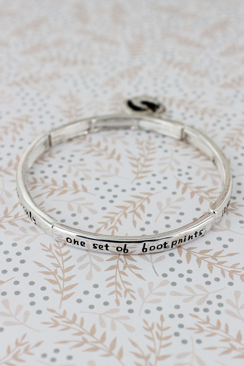 Silvertone 'Footprints' Stretch Bangle with Charm