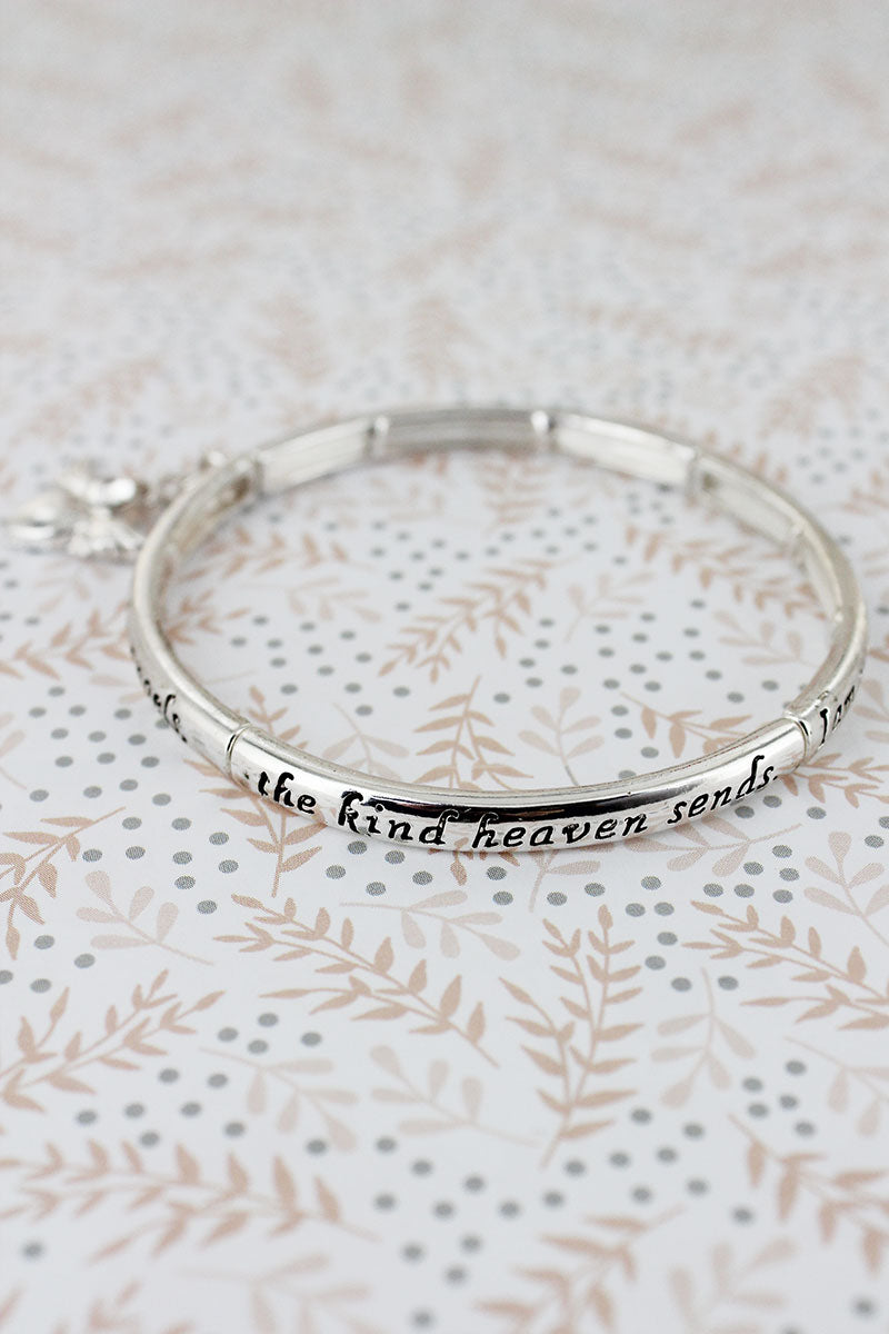 Silvertone 'Guardian Angel' Stretch Bangle with Charm