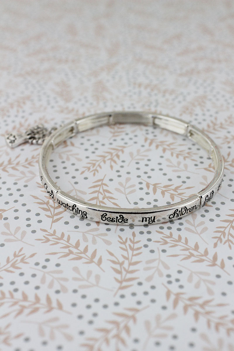 Silvertone 'Children's Blessing' Stretch Bangle with Angel Charm