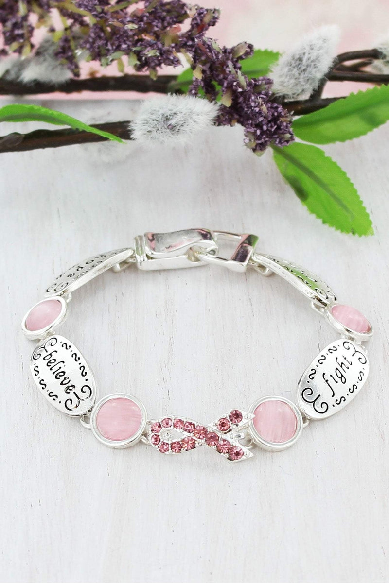 Pink Ribbon 'Hope, Believe, Fight, Cure' Magnetic Bracelet