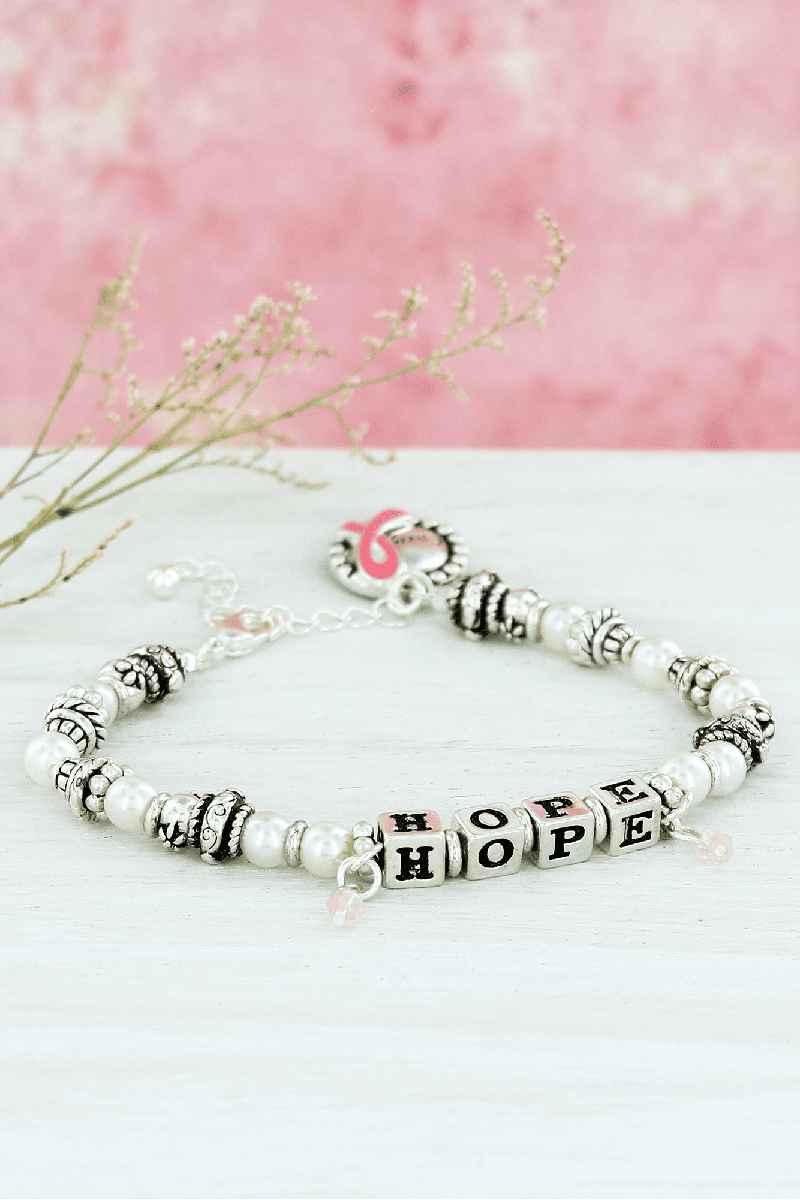 Silvertone and Pearl 'Hope' Block Letter Pink Ribbon Bracelet #AB8270-ASPL
