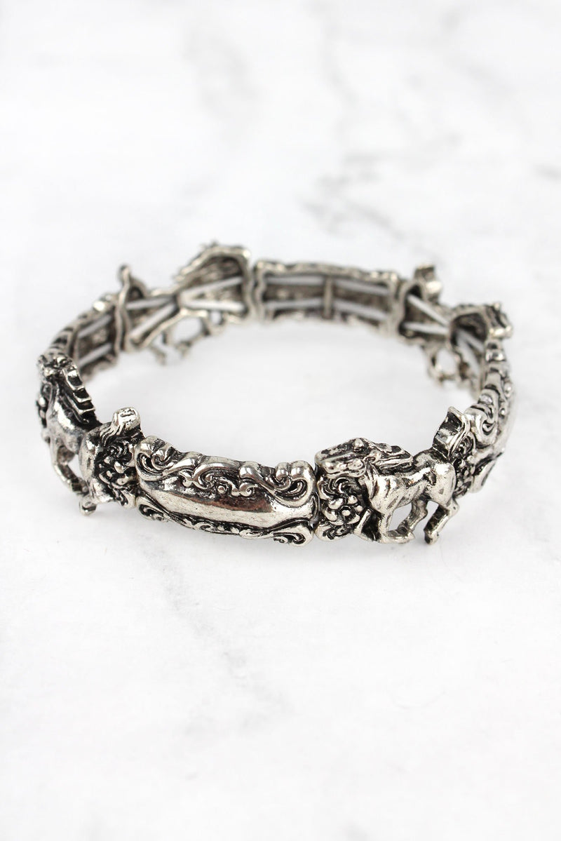 Burnished Silvertone Horse Spoon Stretch Bracelet