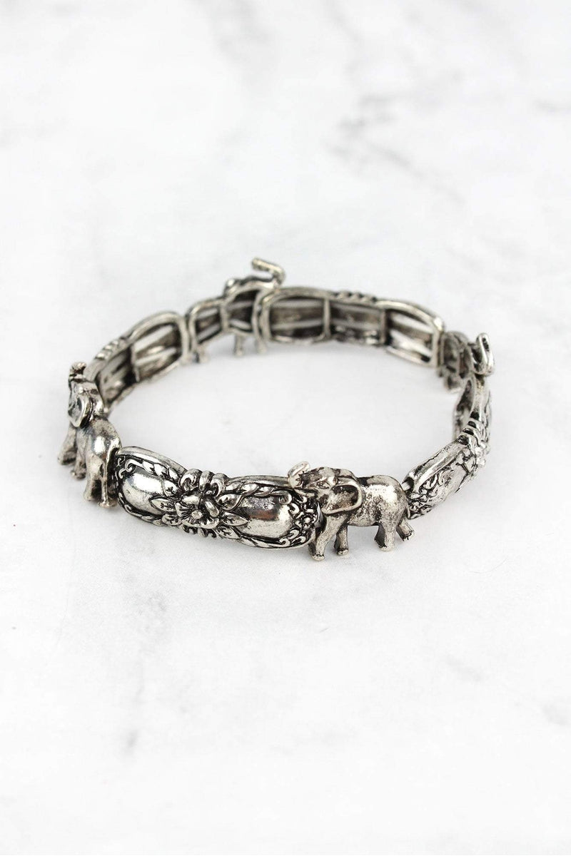 Burnished Silvertone Elephant Spoon Stretch Bracelet