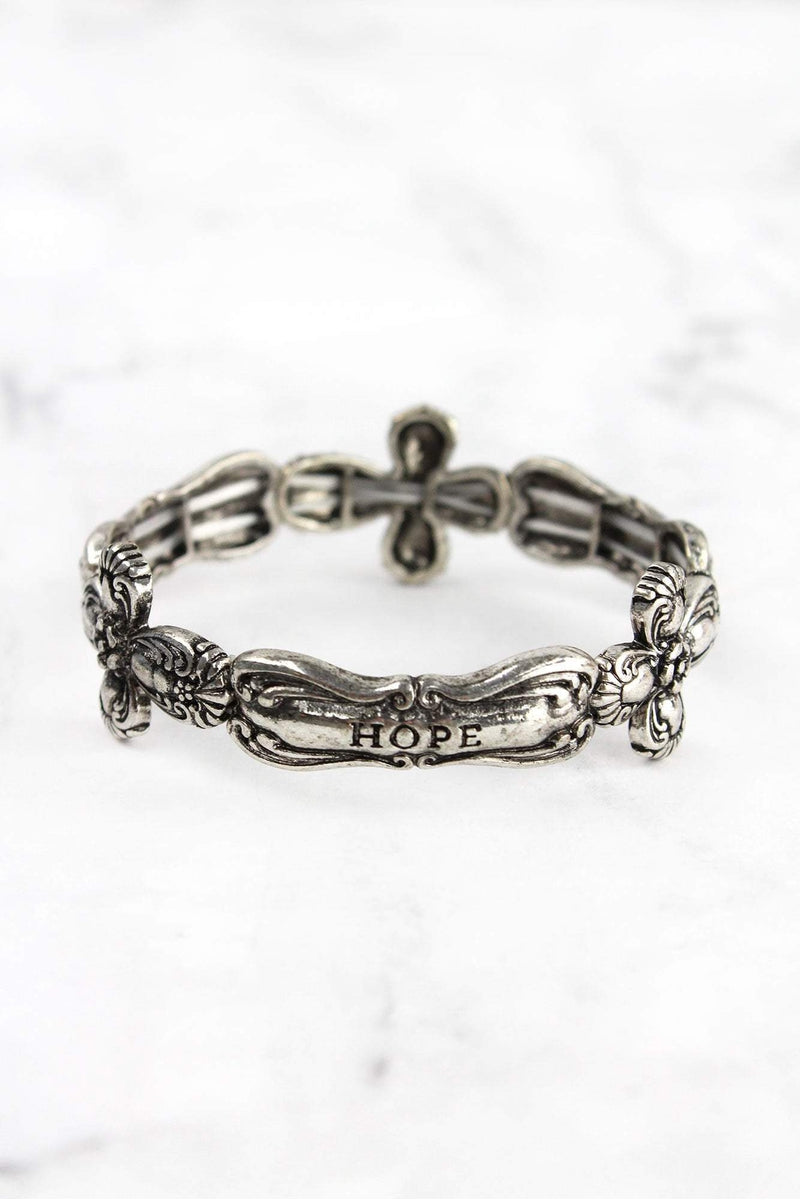 Burnished Silvertone Cross 'Faith Hope Love' Spoon Stretch Bracelet