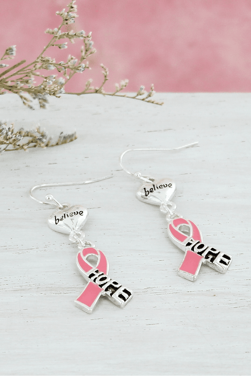 Dangling 'Believe' and 'Hope' Pink Ribbon Earrings #AE1551-ASP
