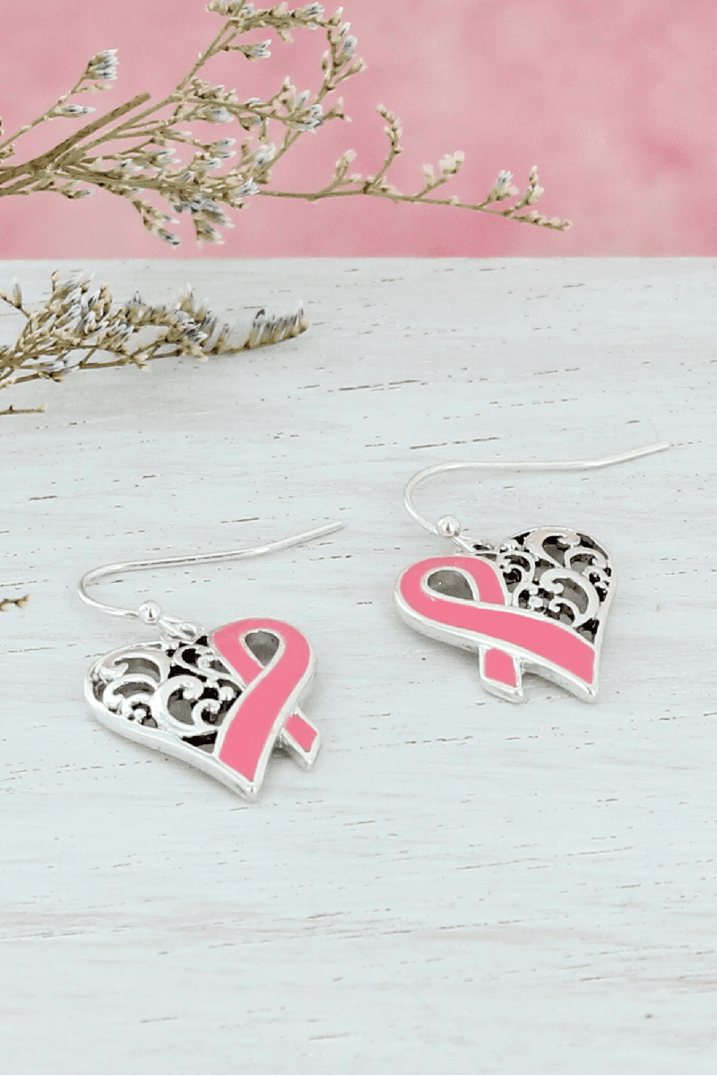 Silvertone Scroll and Pink Ribbon Heart Earrings #AE1552-ASP