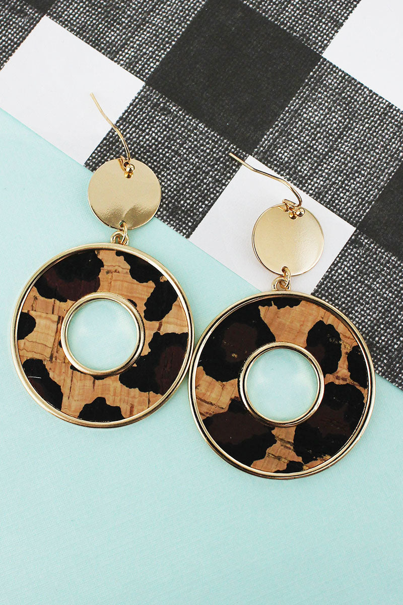 Goldtone Disk and Leopard Cork Circle Earrings