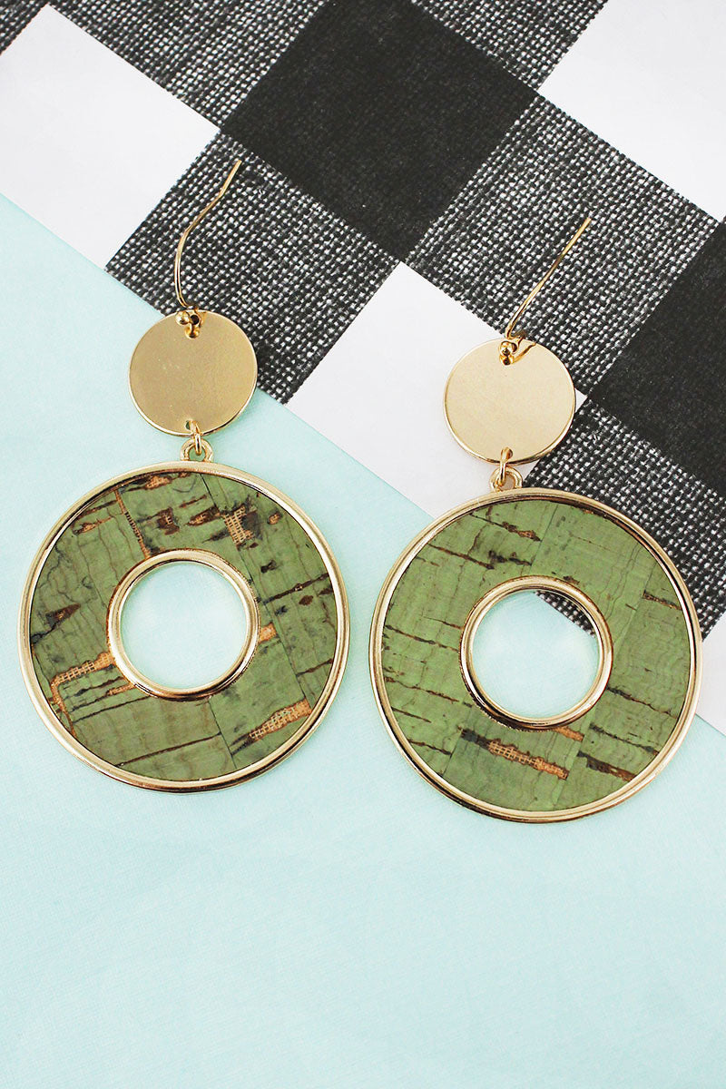 Goldtone Disk and Mint Cork Circle Earrings