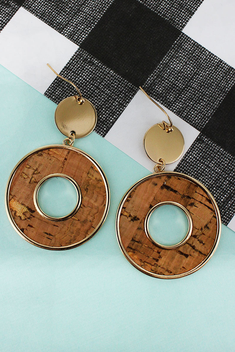 Goldtone Disk and Natural Cork Circle Earrings