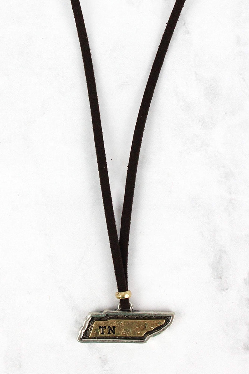 Hammered Two-Tone Tennessee Pendant Brown Cord Necklace