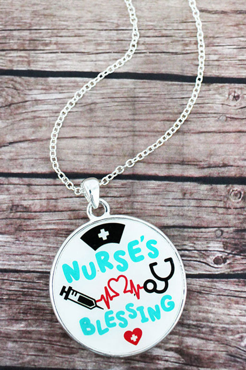 Nurse's Blessing and Silvertone Scroll Double-Sided Pendant Necklace