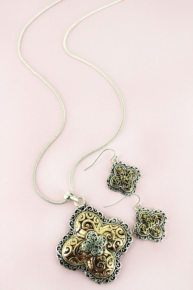 Two-Tone Scroll Quatrefoil Necklace and Earring Set