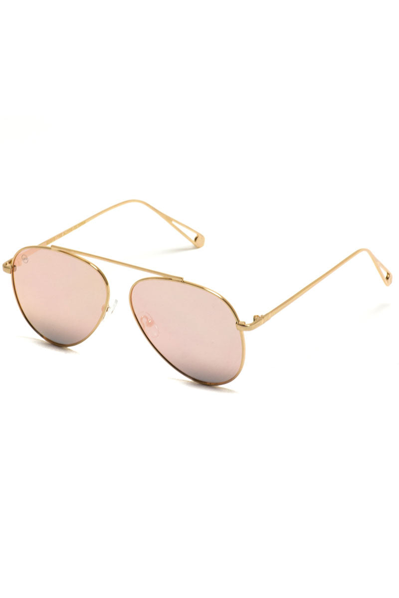 Gold with Pink Mirrored Lens Bridge-Less Aviator Sunglasses