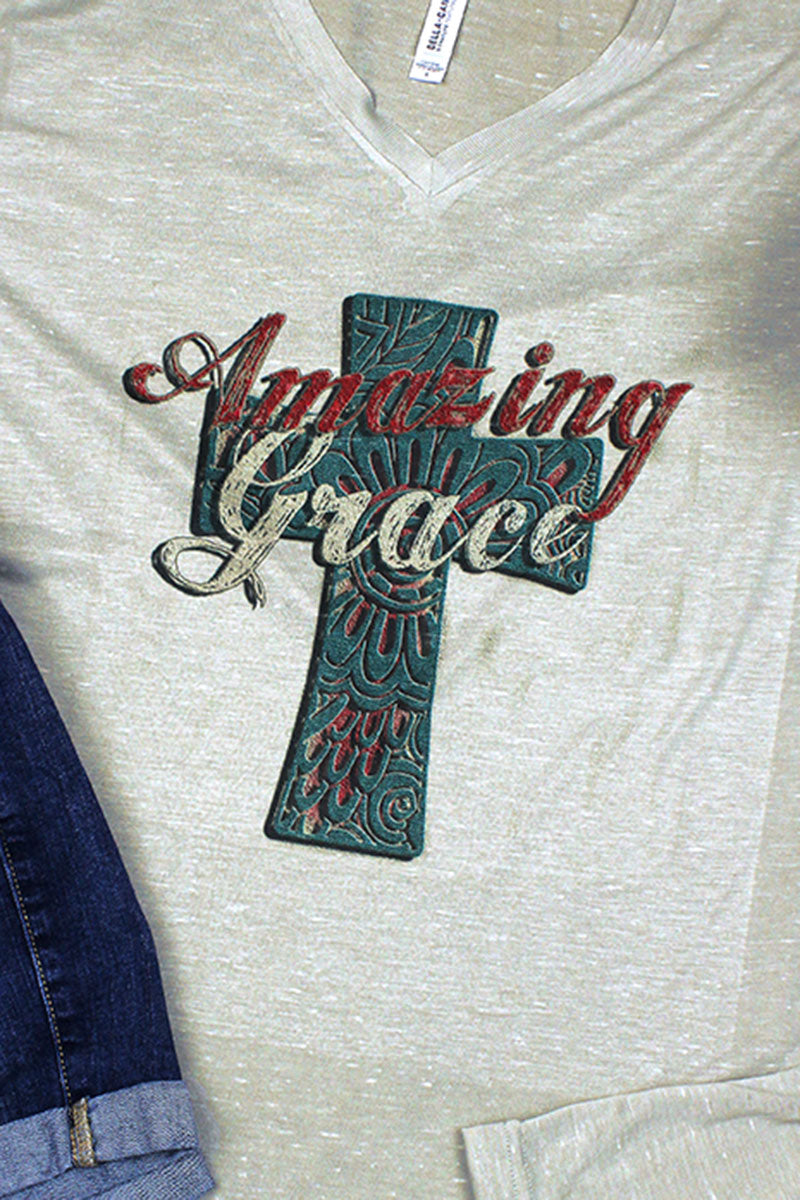 Turquoise Amazing Grace Cross Unisex V-Neck Tee