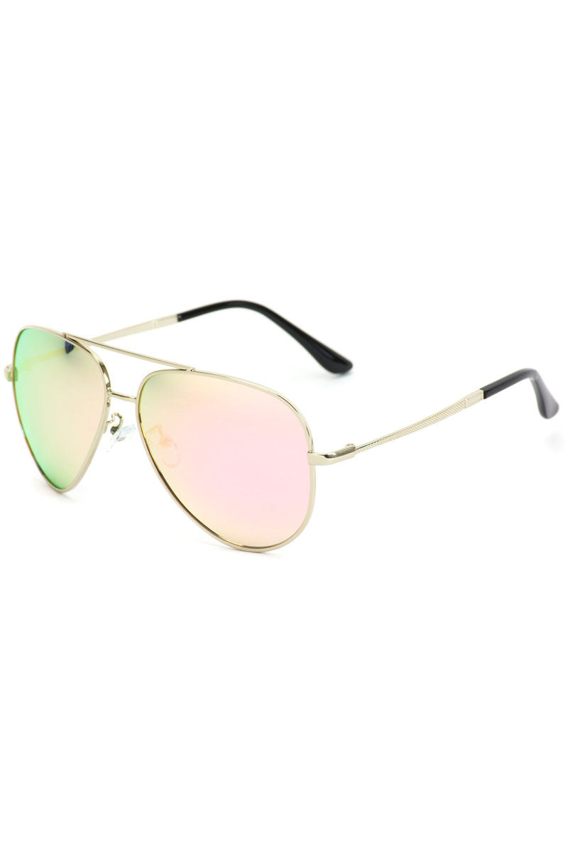 Pink Mirrored Lens Textured Arm Aviator Sunglasses