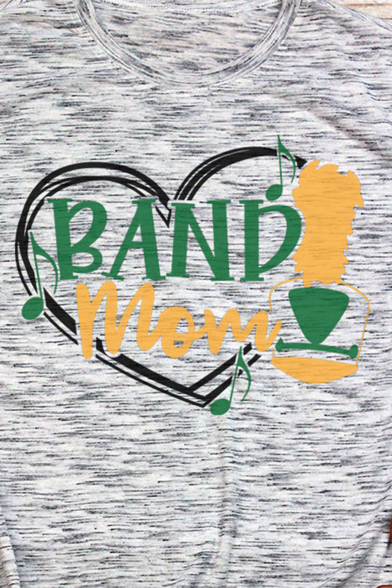 Band Mom - Green & Yellow Unisex White Marble Short Sleeve Tee