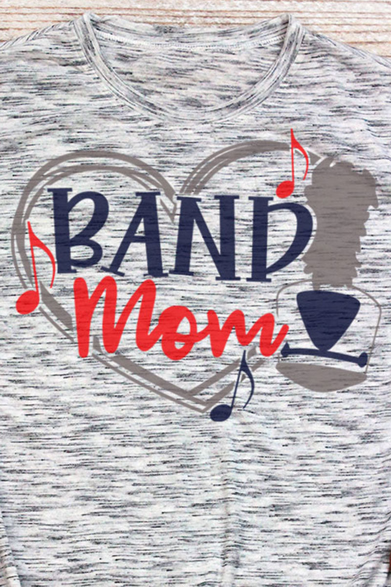 Band Mom - Navy & Red Unisex White Marble Short Sleeve Tee