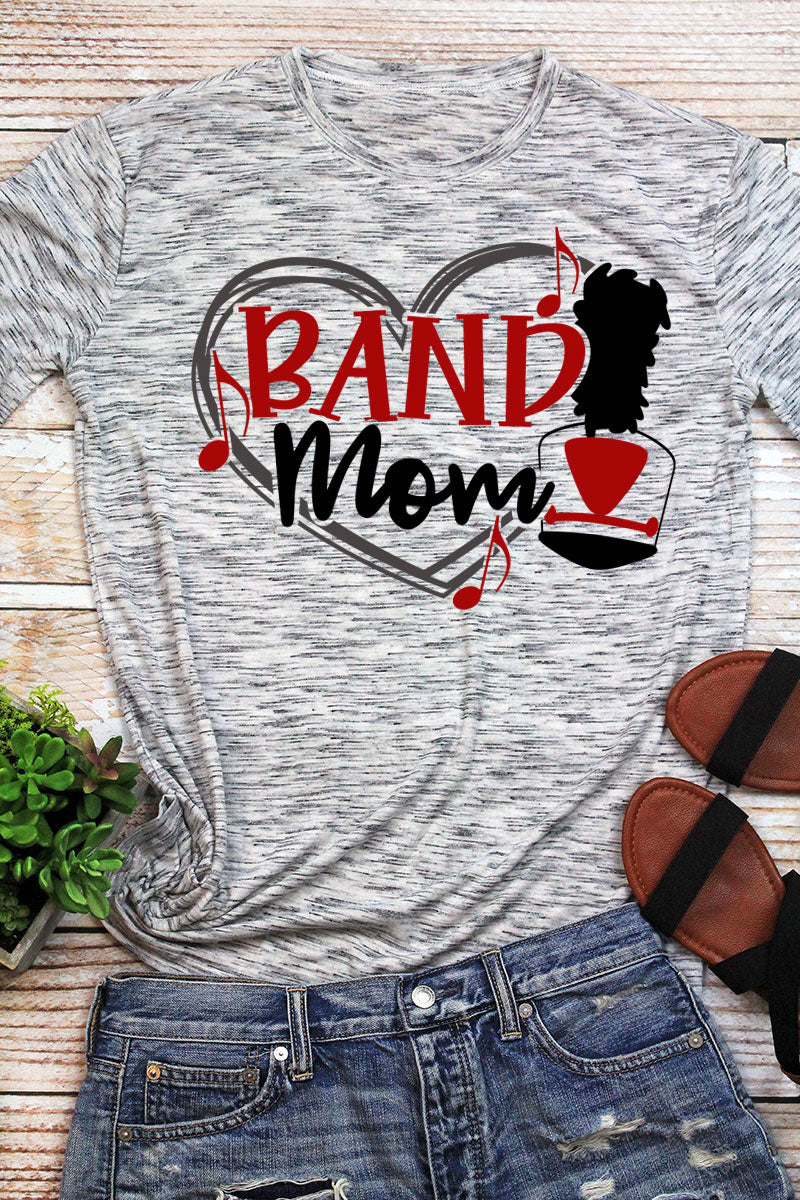 Band Mom - Red & Black Unisex White Marble Short Sleeve Tee