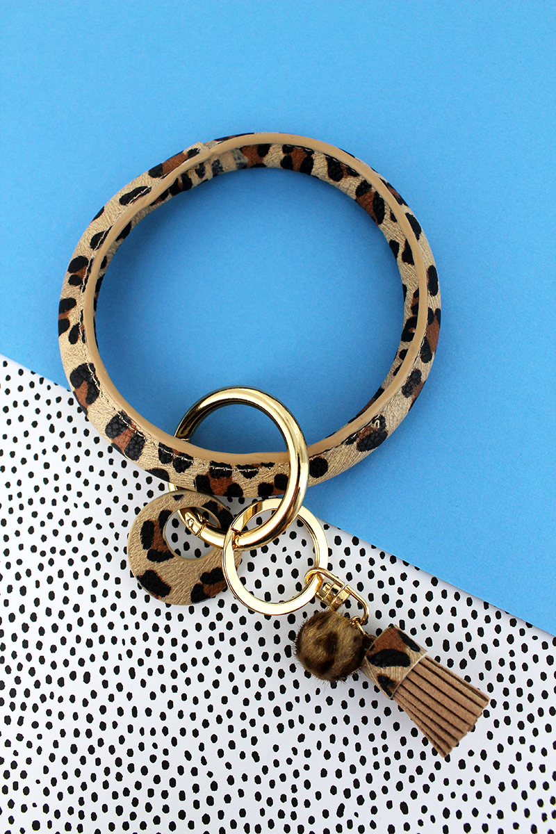 Faux Light Brown Leopard Tassel Bangle Keychain