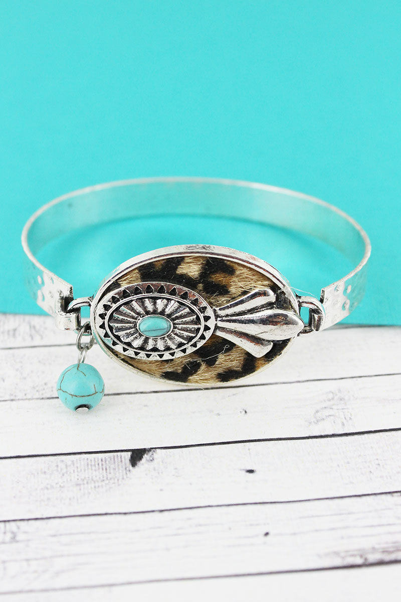 Leopard with Squash Blossom Oval Disk Bracelet
