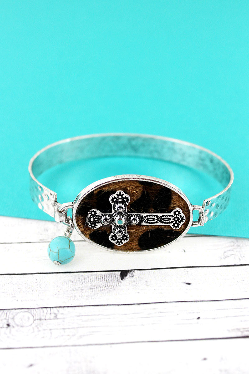 Leopard with Cross Oval Disk Bracelet