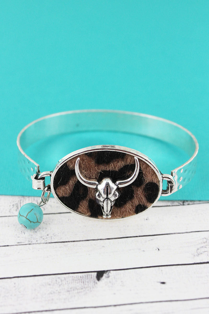 Leopard with Steer Skull Oval Disk Bracelet