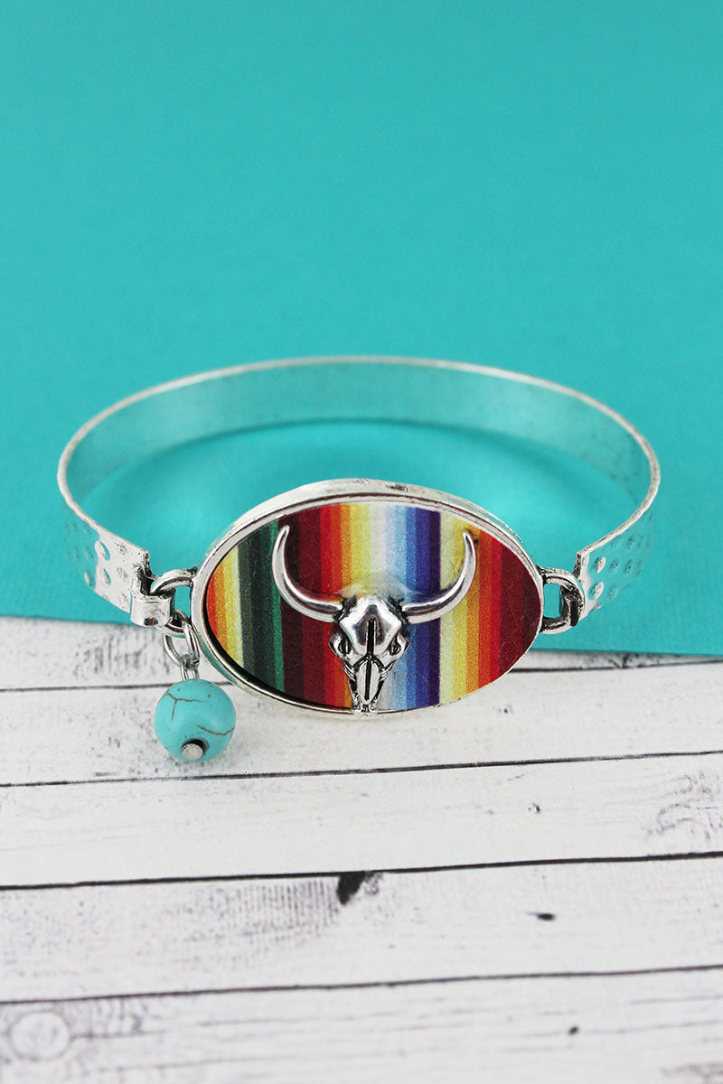 Serape with Steer Skull Oval Disk Bracelet