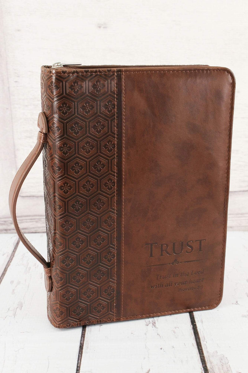 Proverbs 3:5 'Trust' Brown LuxLeather Large Bible Cover