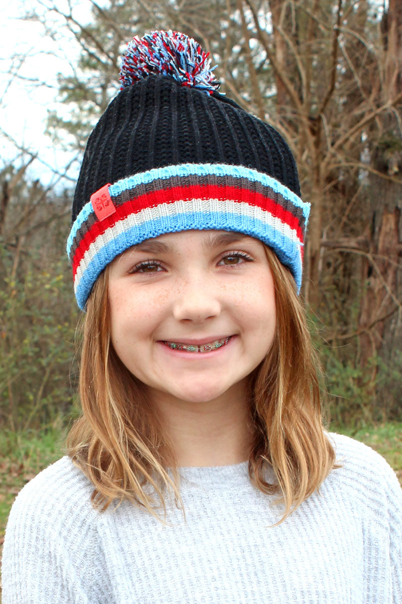 Kid's Black Play All Day Pom Pom Beanie