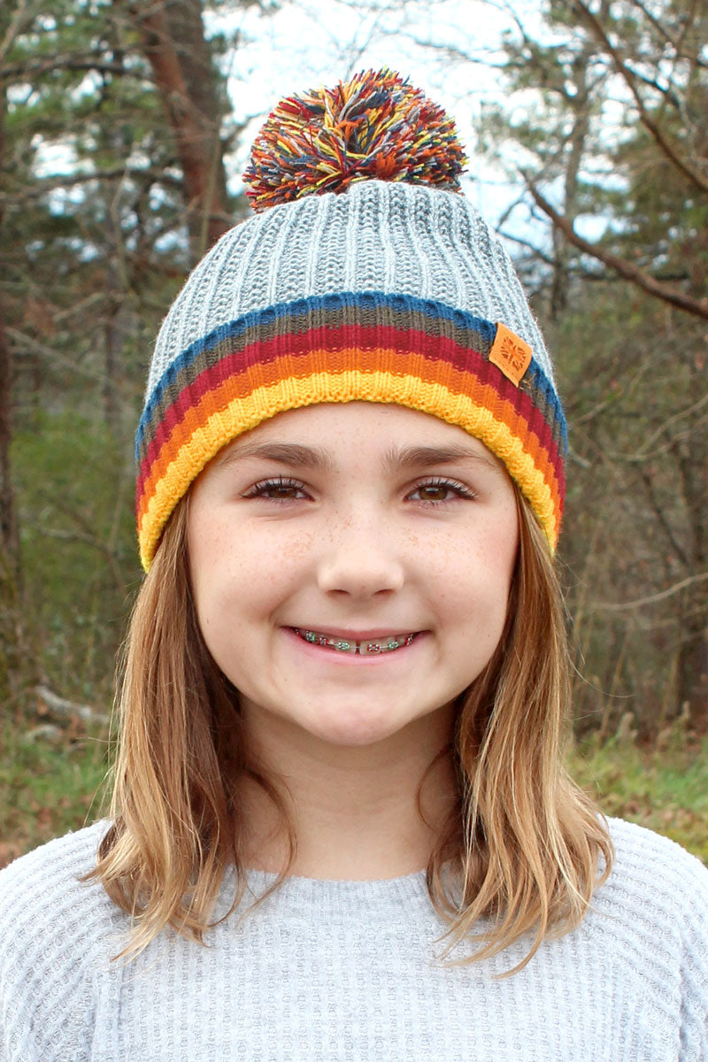 Kid's Gray Play All Day Pom Pom Beanie