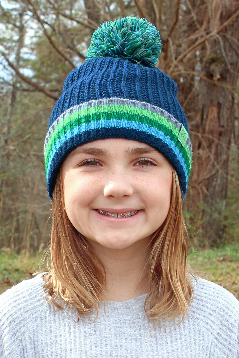 Kid's Navy Play All Day Pom Pom Beanie