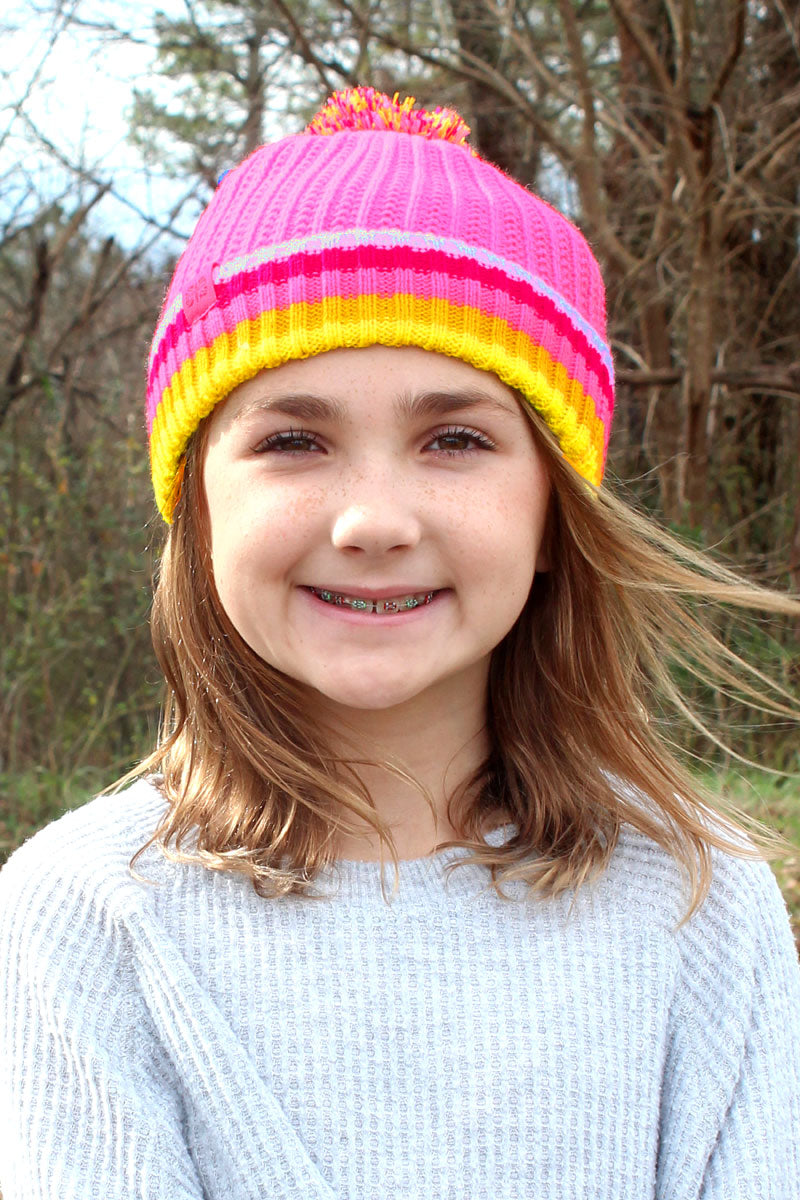 Kid's Pink Play All Day Pom Pom Beanie