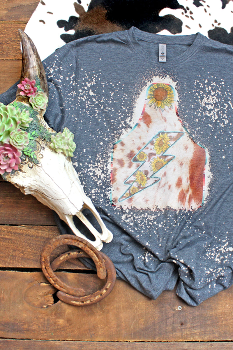 Bleached Sunflower Lightning Cow Tag Poly/Cotton Tee