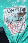 Bleached Sketch Farm Fresh Christmas Trees Softstyle Adult T-Shirt
