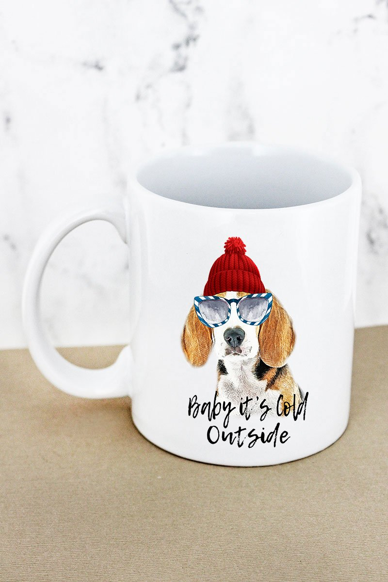 Beagle Baby It's Cold Outside White Mug